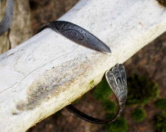 Sterling Native American Indian Haida Raven Totem Bangle Cuff Bracelet