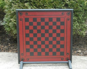 Wood Checkerboard Game Board Primitive Game Board Folk Art Gameboard