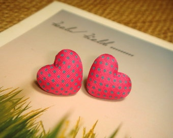 Deep Pink And Blue Polka Dots Heart Shaped Fabric Covered Button Stud/Post Earrings (E127)