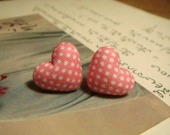 Light Pink And White Polka Dots Heart Shaped Fabric Covered Button Stud/Post Earrings (E150)