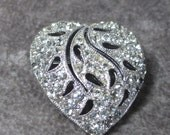 Beautiful Signed Rhienstone Filigree Heart Brooch Signed Hedy, Silver Rhodeum Plated