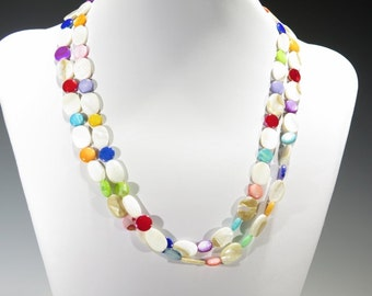 Necklace - Multiple Shapes of Mother of Pearl Beads with Great Colors - Wear with anything