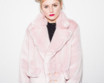 "Pink ""Janice"" Double Breasted Coat"