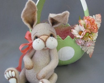 Gabby minature needle felted artist bunny rabbit by Blueberry Creations
