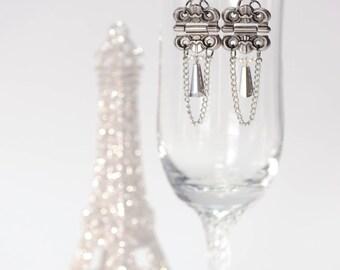 Swingy silver hinge long dangle earrings, chain & crystal earrings, ooak