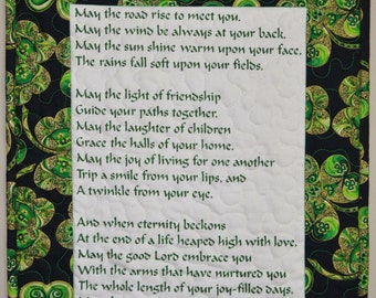 Irish Blessing Quilted Wallhanging, Green Shamrock border, St Patricks Day Home Decor