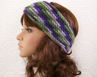 Crochet headband, headwrap, ear warmer - purple green multicolor - Women's Winter Fashion handmade by Sandy Coastal Designs - ready to ship