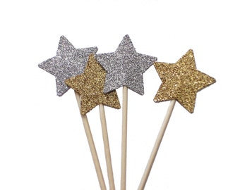 Glitter Gold Star Cupcake Toppers, Twinkle Twinkle Little Star - No239
