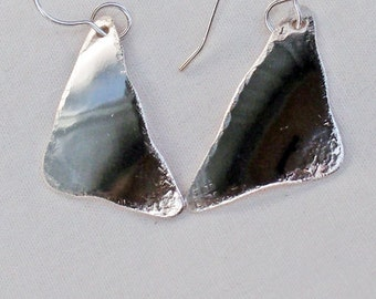 Sterling Silver Earrings A Small Domed Triangles Handmade