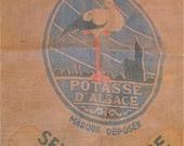 Large Antique  french stork d'Alsace burlap sack