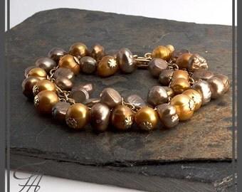 Gold Pearl, Pearl Bracelet, Big Pearl Bracelet, Artisan Bracelet, Gold Bracelet, Handmade Bracelet, Bridesmaid Bracelet,Wedding Bracelet