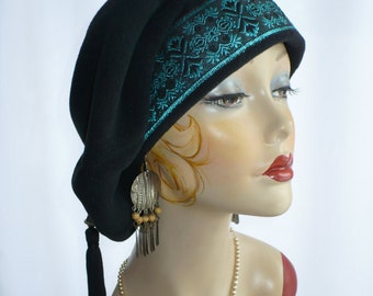 Oversize 13 Inch Black Polar Fleece Beret with Black and Turquoise Trim, Boho Style