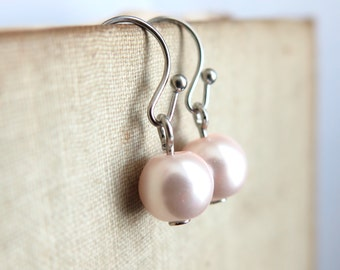 Blushing Pink Glass Pearl Dangle Earrings