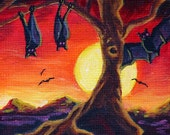 SALE - Halloween ACEO Giclee Print - Bat World - Moon Stars Art SFA Safyre Studios