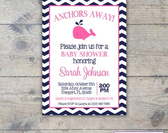 WHALE NAVY & PINK - Baby Shower 5x7 Invitation Printable