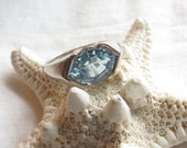 Fancy Cut Blue Topaz and Sterling Silver Ring