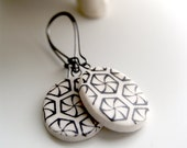 porcelain earrings - victorian inspired design - black and white - geometric