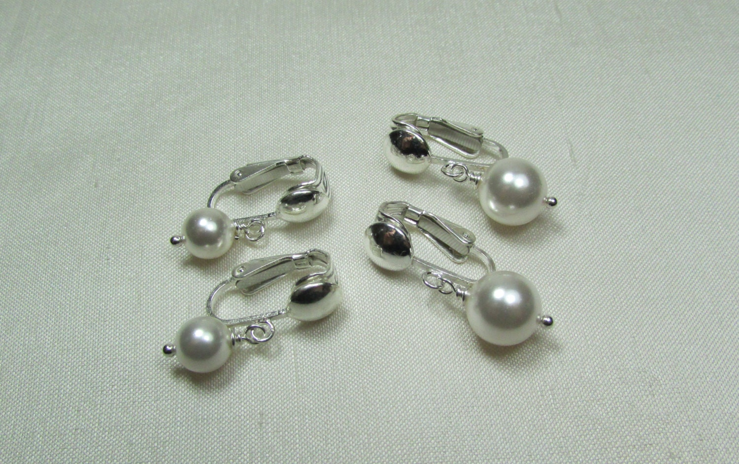 clip on pearl earrings bridesmaid jewelry pearl bridal. Black Bedroom Furniture Sets. Home Design Ideas