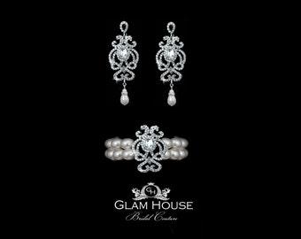 Pearl jewelry,Pearl earrings, pearl bracelet,chandelier earrings,Bridal Jewelry Set,bridal earrings,bridal bracelet,vintage wedding