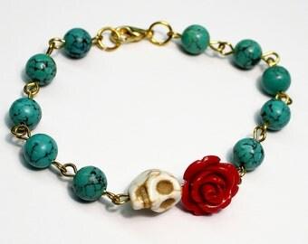Original Day of the Dead Turquoise Red Rose Frida Flower Jewelry Atlanta White Sugar Skull Bracelet