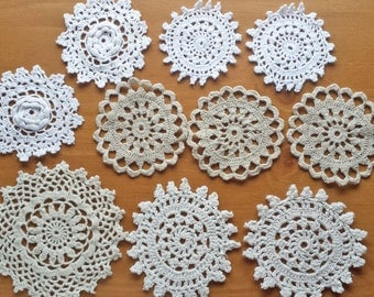 10 White, Ecru, Taupe, Off-White Natural Toned Vintage Crochet Doily Medallions