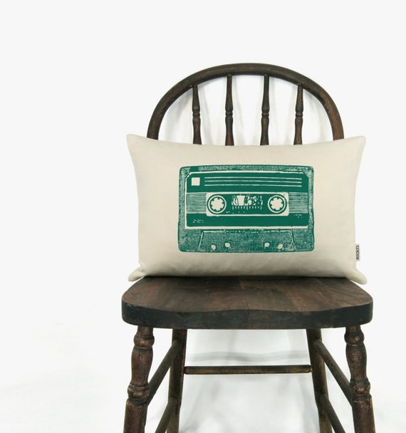 Vintage cassette decorative cushion cover - Mix tape throw pillow case in 12x18 or 16x16 - Your custom choice of ink color, fabric and size
