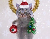 Gray Tabby Cat Christmas Ornament Feather Tree