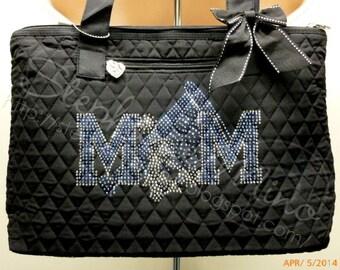 Cheer Mom Rhinestone Quited Tote Bag