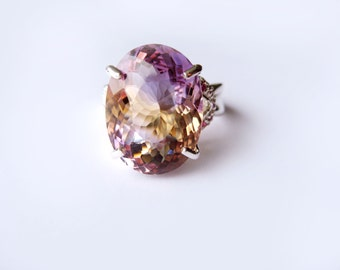 Top Grade Natural Bicolor Ametrine In Sterling Silver, Ruby Accens Ring, 10.7ct. Size 7.5