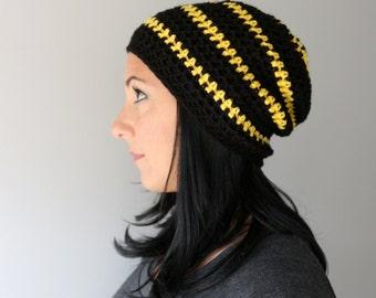 Striped Crochet Beanie Hat, Black Beanie with Yellow Stripes, Slouchy Classic Striped Beanie Hat