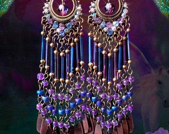 "SALE- Blue & Purple Beaded Bohemian Chandelier Earrings, 4 1/2"" Long Bronze Metal Dangle Charm Glass Earrings, Sparkly Crystal, Sparkly!"