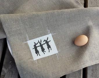 Dancing bunnies towel,Linen tea towel,easter towel, hostess gift, handmade tea towel, printed towel,