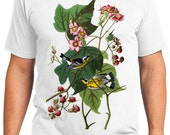 Black Yellow Warblers Bird Retro Men & Ladies T-shirt - Gift for Bird Lovers and Ornithologist (idc123)