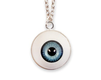 Weird Eye Necklace - Blue Spooky Macabre Goth Gothic Funny Evil Eye Strange Horror Dark
