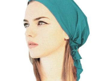 Tichel Basics, Hair Snood, Head Scarf, Chemo Hat, Chemo Cap, Turban: Teal, Royal Blue, Black, White, Grey. . . see many more styles in shop