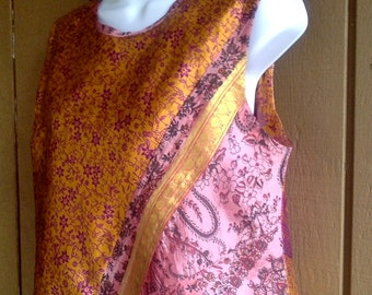 CUSTOM Patchwork Pink Prints Top elegantly laps over in front and back