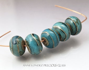 Light aqua Lampwork glass bead set Made to ORDER Lampwork bead set round beads Handmade glass beads lampwork blue beads Anne Londez SRA