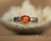 Oval Amber Bezel-set Solitaire with Sterling Silver Pattern Band - Unique Amber Promise Ring in Silver with Flower and Leaf  Pattern Band