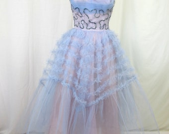 1950s Strapless Blue Sequin Prom Gown