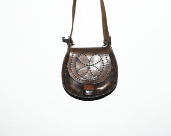 Vintage 60s BOHO Hippie Leather Bag , Mandala Bag