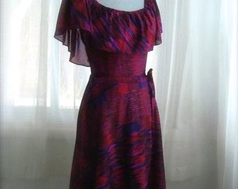 Pretty 70's Jewel Tone Ruffled Dress, Size Small
