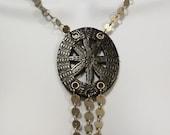 BLACK WIDOW Necklace Black Leather Silver Metal Statement Piece