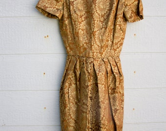 Vintage 1950s Copper & Gold Metallic brocade Wiggle Dress XS Mad Men