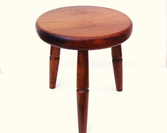 Vintage Small Wooden Stool Round Bench 3 Legged Milking
