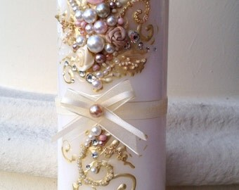 Wedding memorial candle in gold, champagne and light pink, custom personalized in memory candle with pearls and crystals