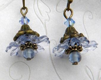 Crystal Blue Earrings,  Crystal Blue Flower Earrings - Lucite Crystal Earrings - Dangle Blue Earrings