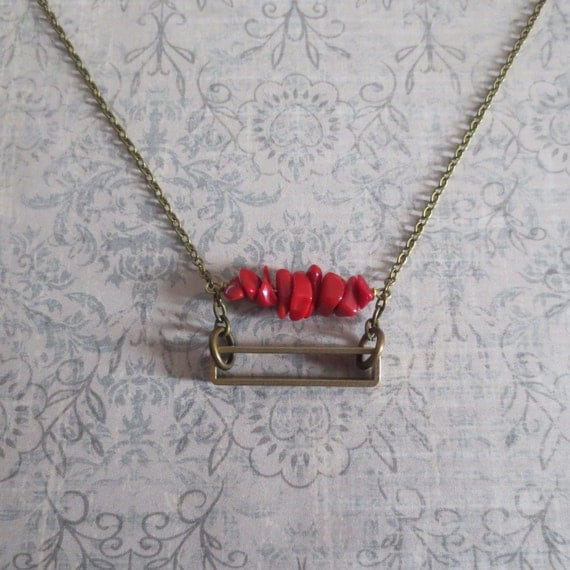 Cathode - Geometric Brass and Red Coral Necklace with Rectangle Element (Collier Géométrique Rouge) by InfinEight