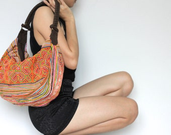 Ethnic Hobo Boho Embroidered Thai Hmong Shoulder Sling Bag