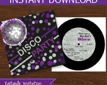Disco Invitation DIY Printable Kit - INSTANT DOWNLOAD