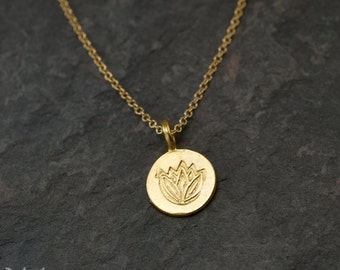 Small Gold Lotus Flower Disc Charm Necklace - Dainty Gold Necklace - Layering Necklace - Layered Necklace - Minimalist everyday jewelry